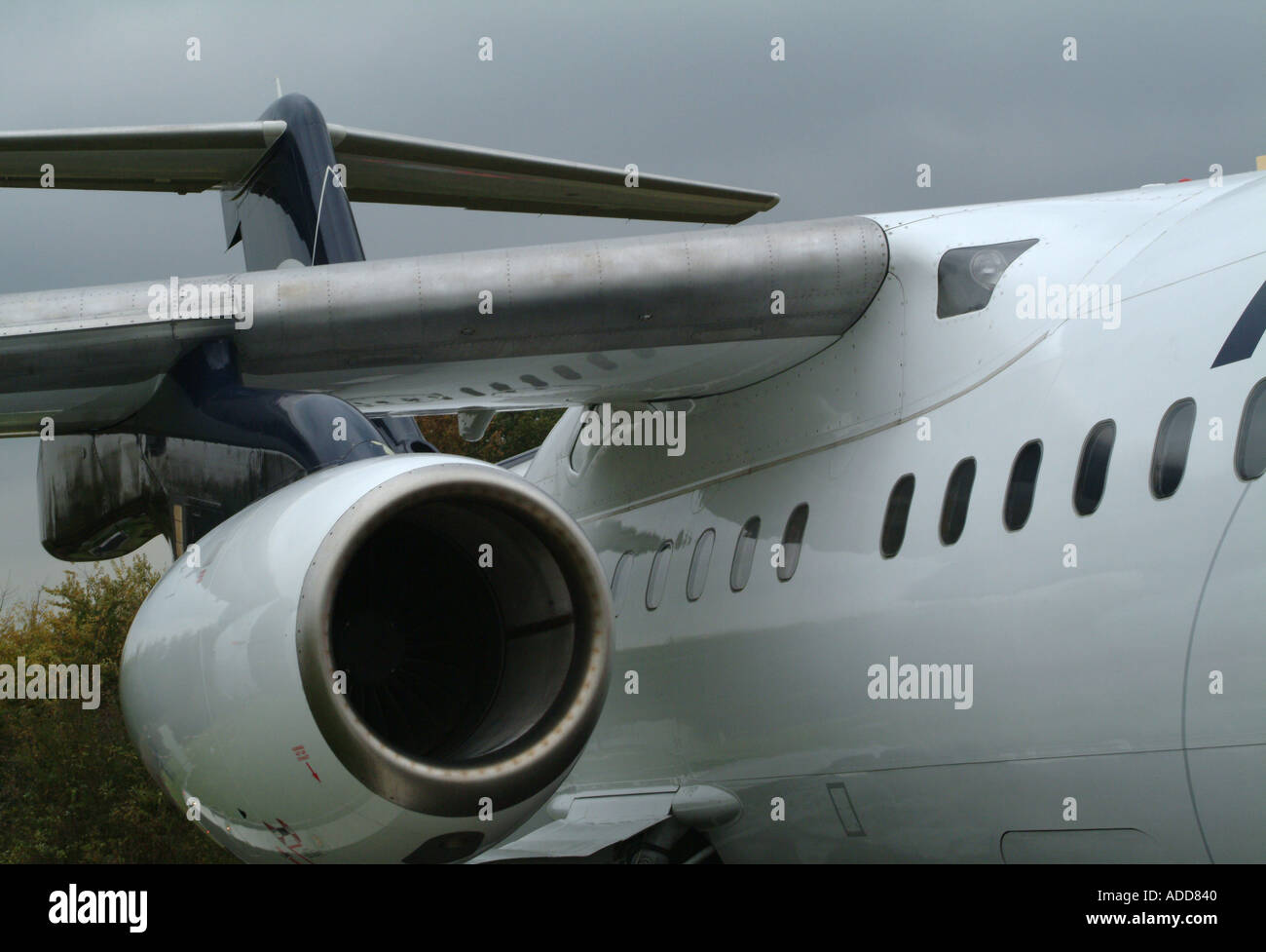 BAe Avro RJ100 Airliner on Static Display at Manchester Airport England United Kingdom UK - Stock Image