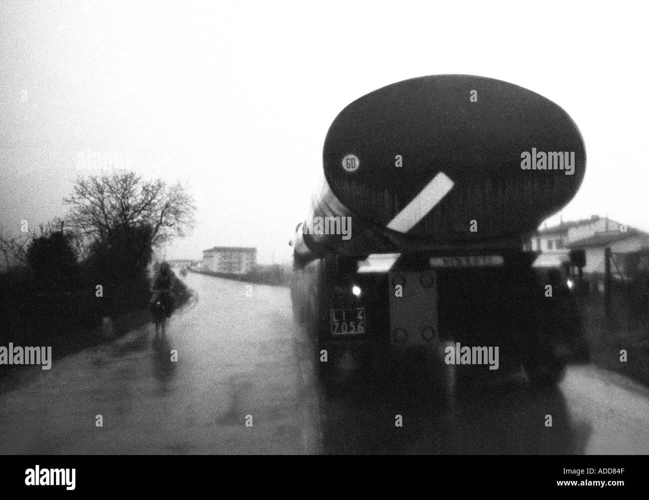 Vintage 1965 Italy lorry in rain Stock Photo