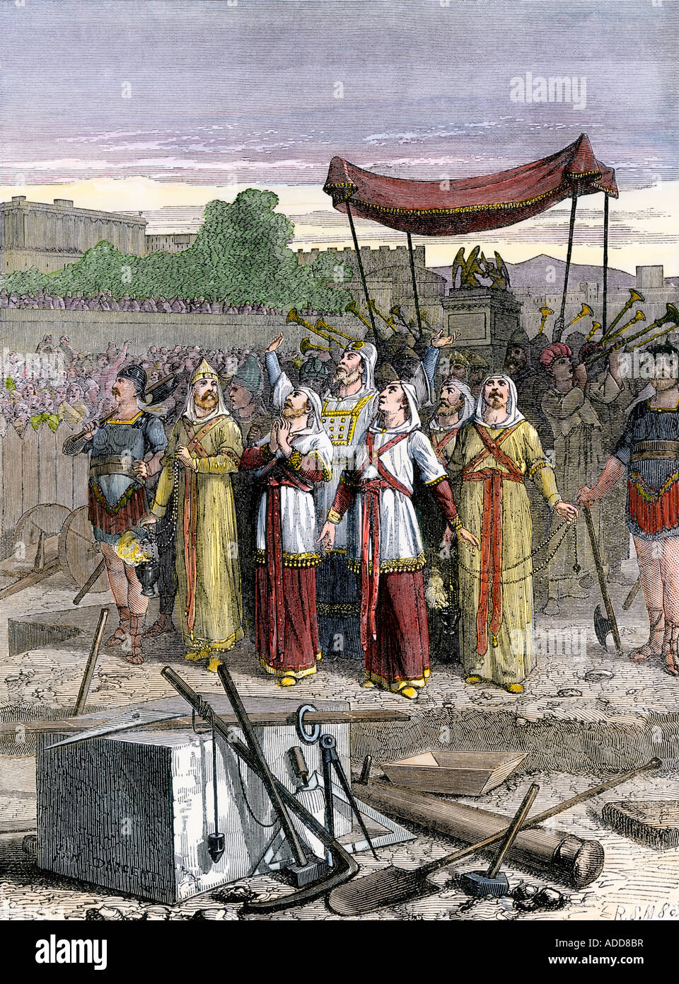 Israelites celebrate rebuilding Solomons temple at Jerusalem after the Babylonian Captivity. Hand-colored woodcut - Stock Image