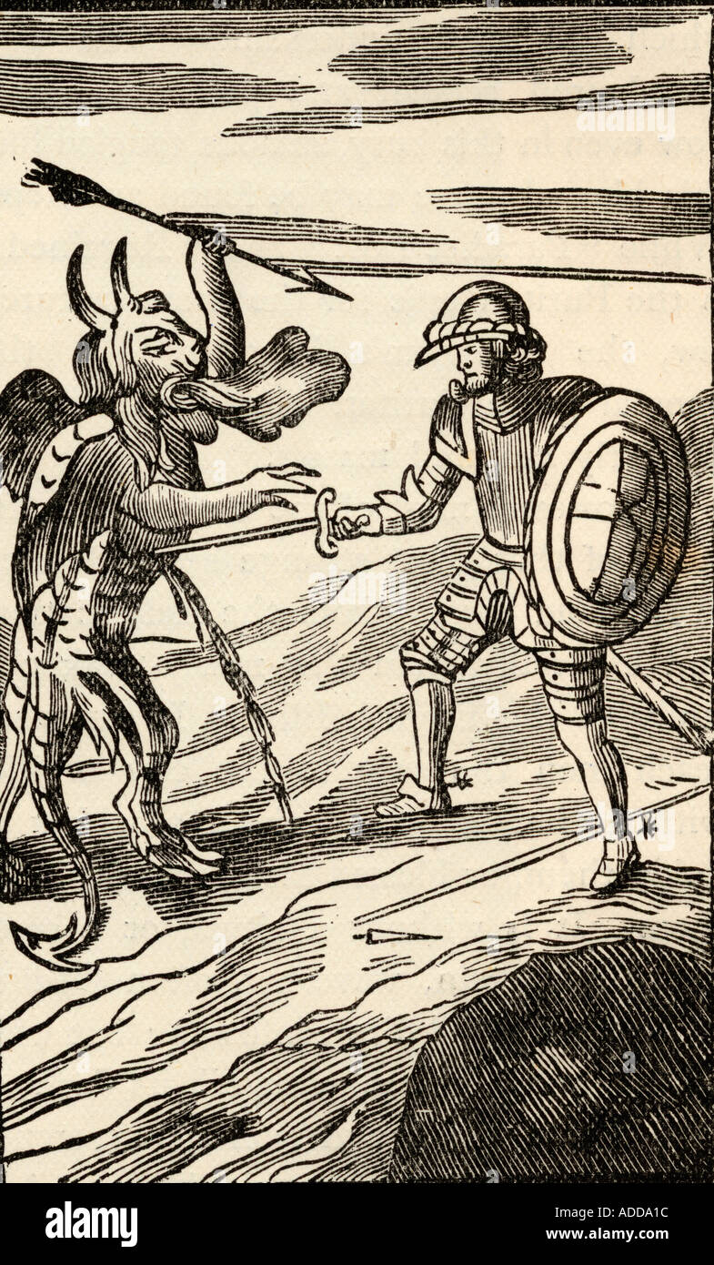 The fight between Christian and Apollyon, Angel of the Abyss. From the 13th edition of The Pilgrm's Progress, 1692. - Stock Image