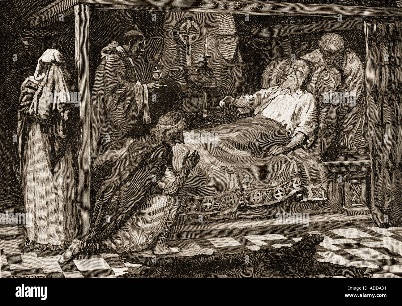 Edward The Confessor, aka Saint Edward the Confessor,1042 -1066. Penultimate Anglo Saxon King.  Seen here on his deathbed. - Stock Image