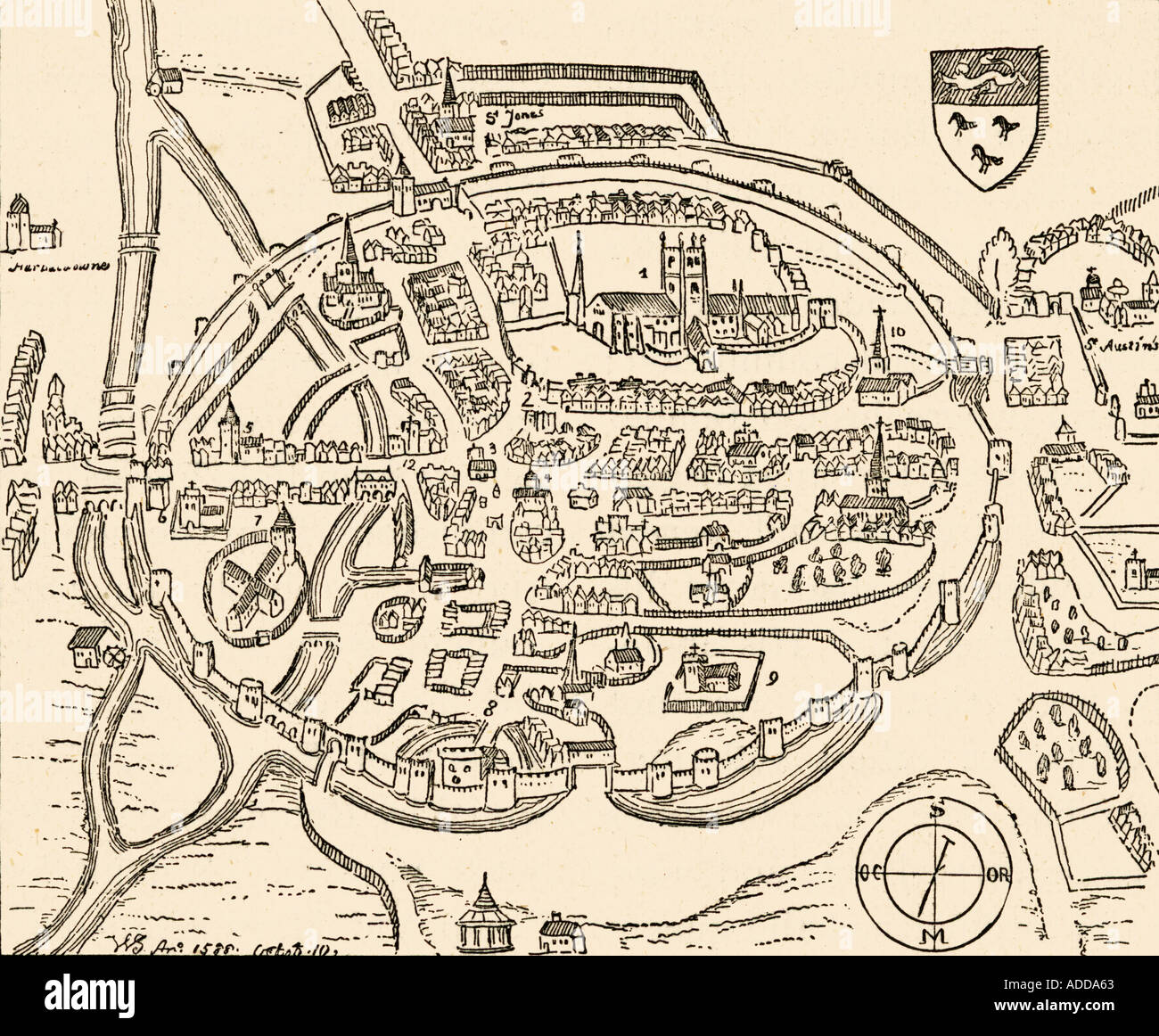 Map Of Canterbury England In The Sixteenth Century Stock Photo