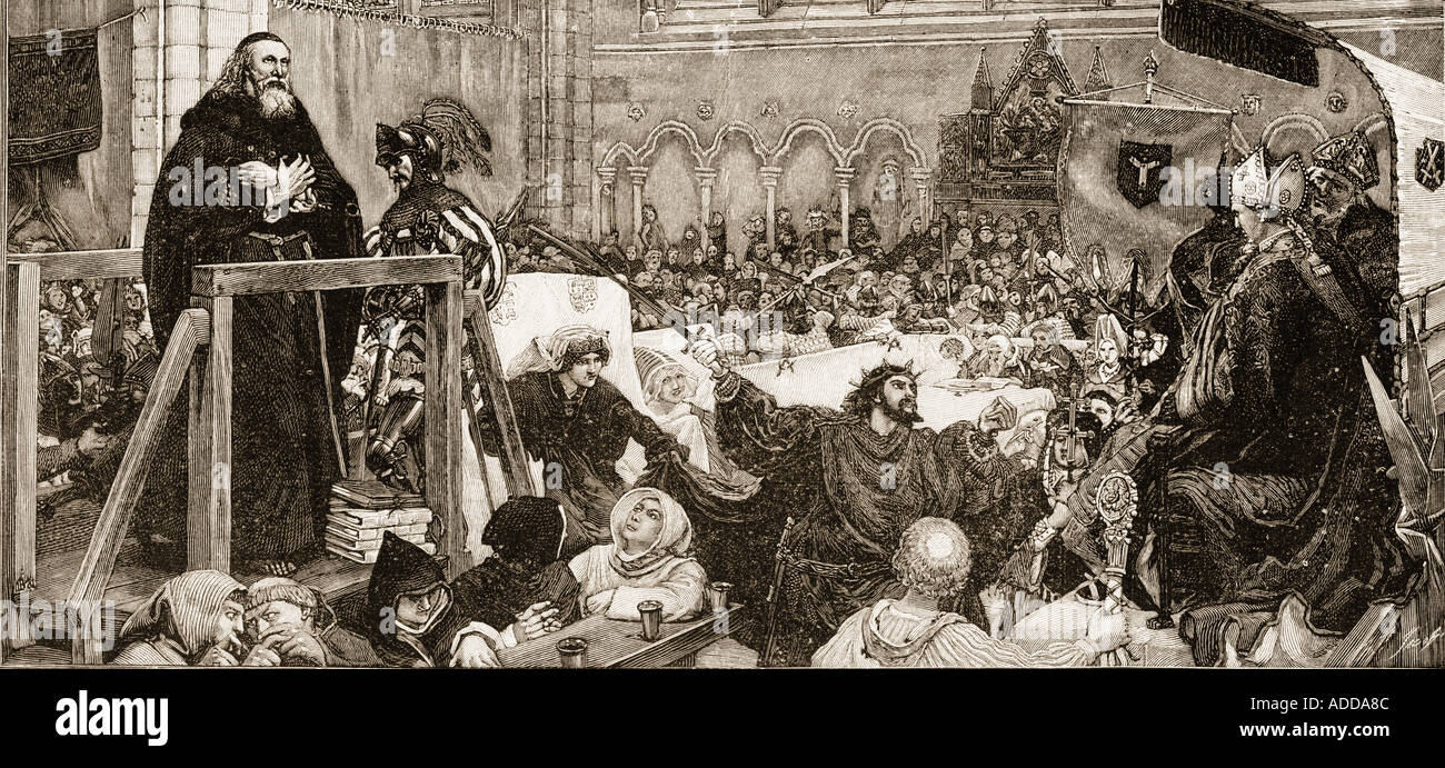The trial of John Wycliff in 1378.  John Wycliff, c. 1330 -1384. English theologian, philosopher and church reformer. - Stock Image
