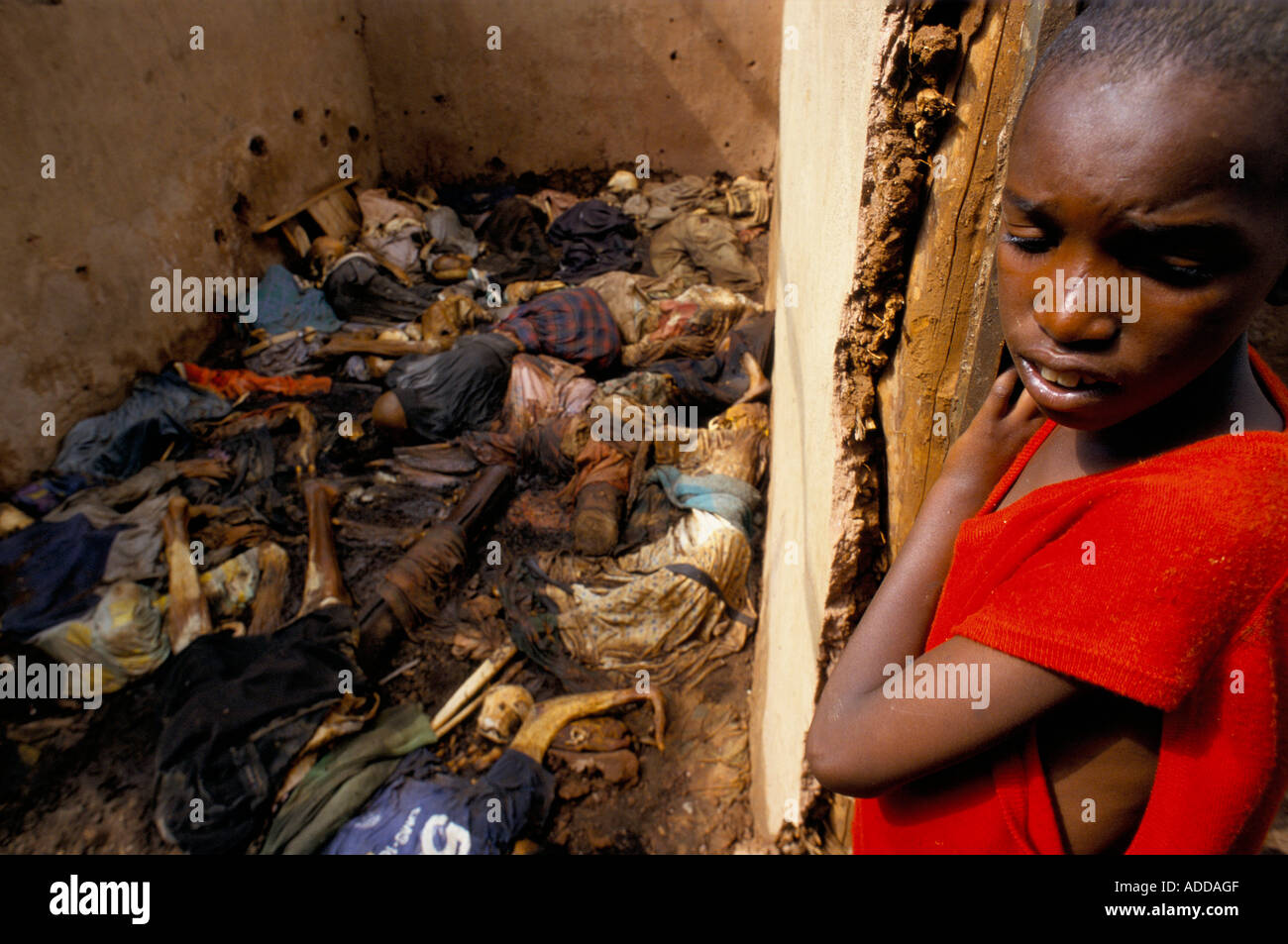 Kyonza, Rwanda, August 1994.  A young girl recoils from the sight of so much death. Bodies of Tutsis, murdered during the genocide remain unburied. - Stock Image
