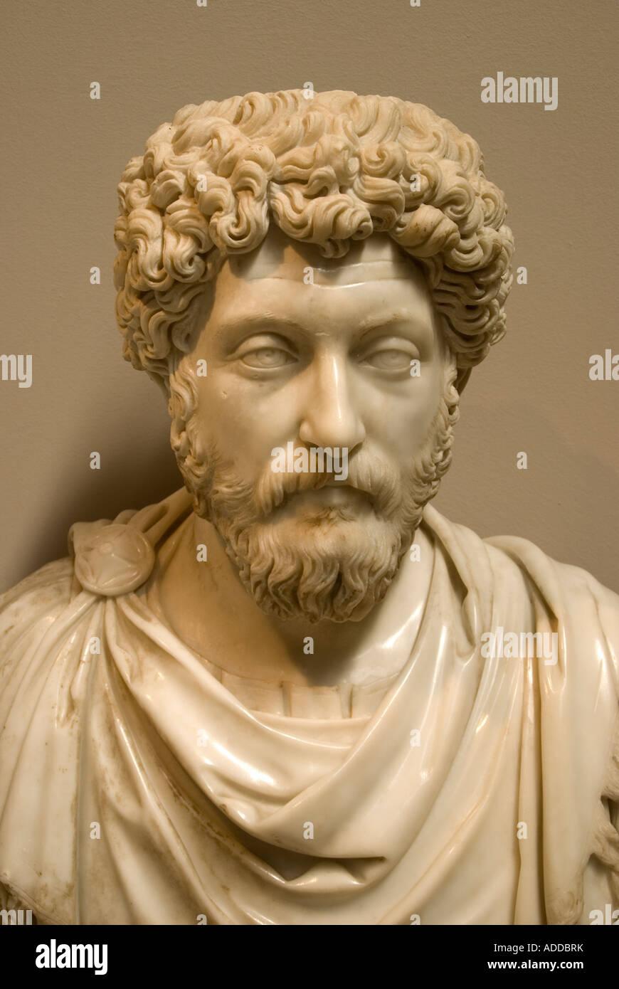 Ephesus Museum, bust of Roman Emperor Marcus Aurelius, from 2nd century CE, in Seljuk, Turkey - Stock Image
