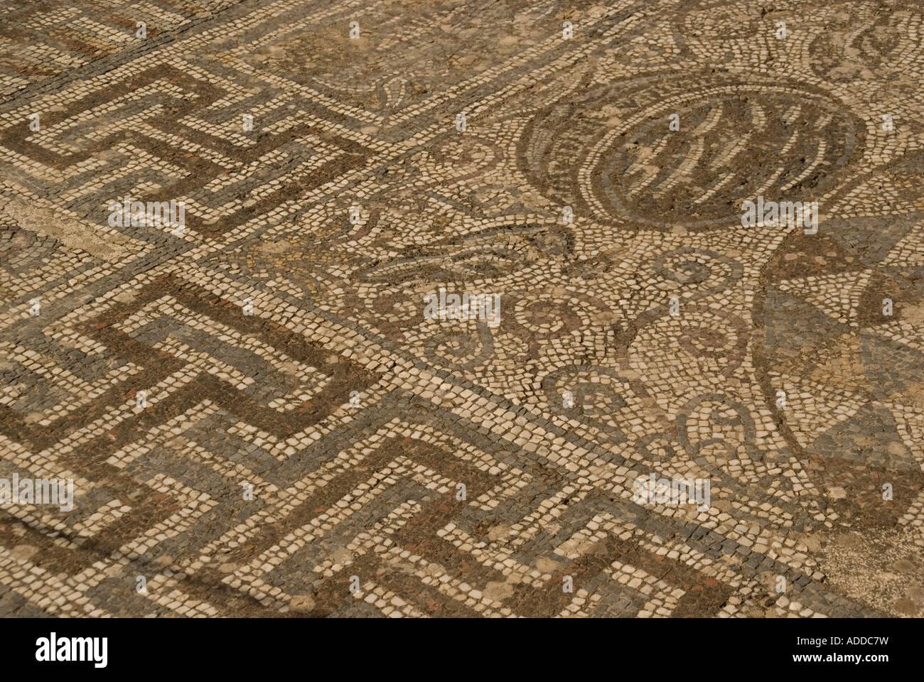 Roman mosaic tile floor at Ephesus, Turkey - Stock Image