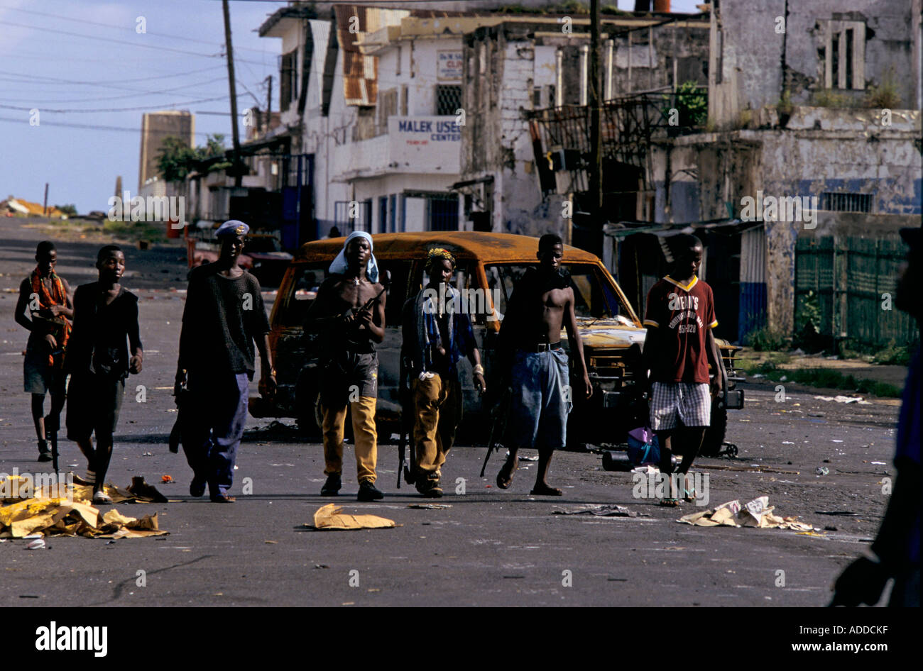 Charles Taylor's Liberia May 96 - NPFL fighters move through downtown Monrovia during a lull in the fighting - Stock Image