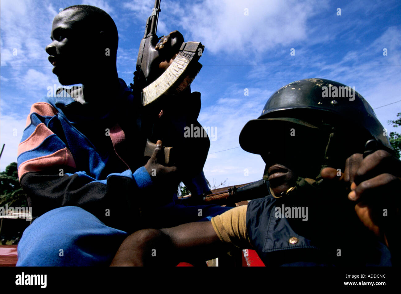 Charles Taylor's Liberia May 96 - NPFL fighters, part of the group guarding Councilman Charles Taylor, in Kakata town. - Stock Image
