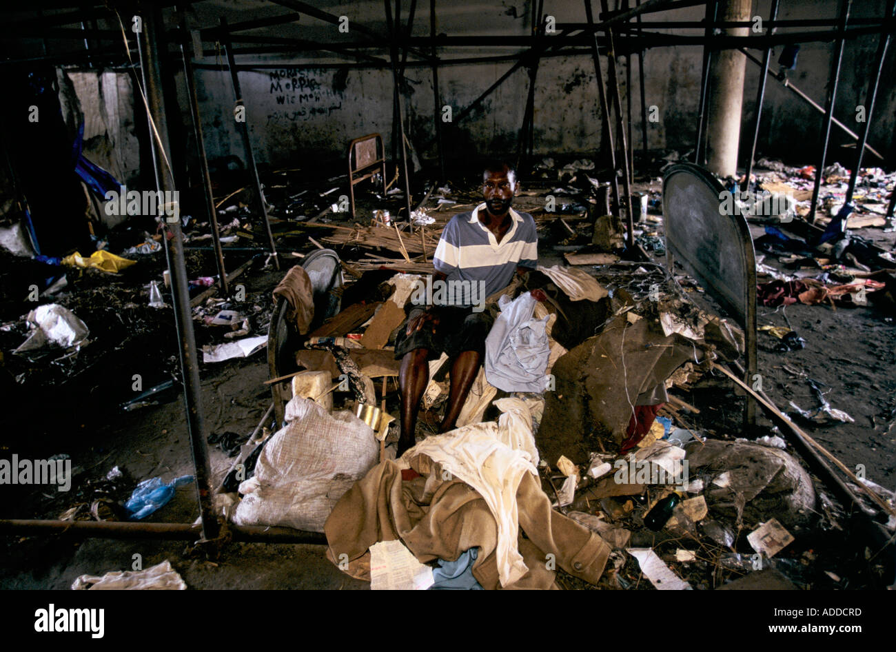 Charles Taylor s Liberia, burned out bus station - Stock Image