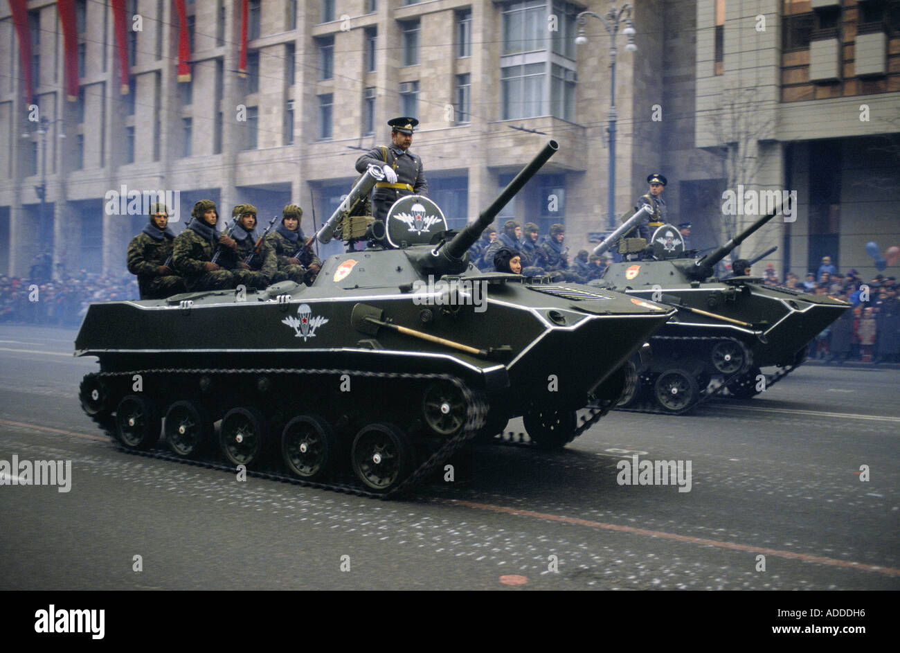 Ukraine Revolution day parade on a boulevarde in Kiev on 7th Nov 1989 Generals and armed soldiers travel on tanks Stock Photo