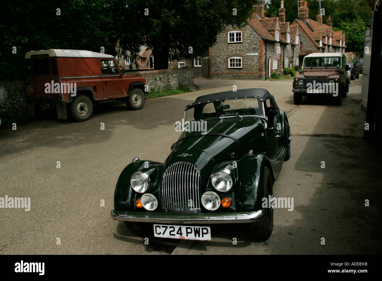 Hambleden:  A Morgan sports car outside the Stag and Huntsman garage after being serviced. - Stock Image