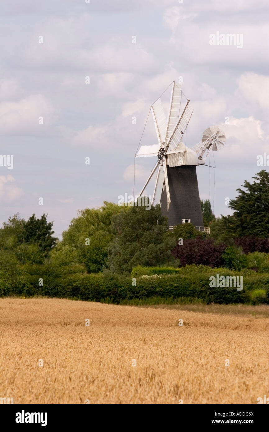 The only 8 sail windmill in Europe, Heckington windmill has been restored to working condition and is open to the - Stock Image
