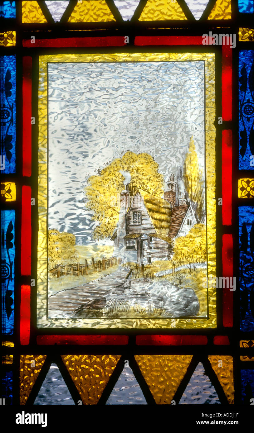 Decorative Stained Glass panel hand painted rural scene on front ...