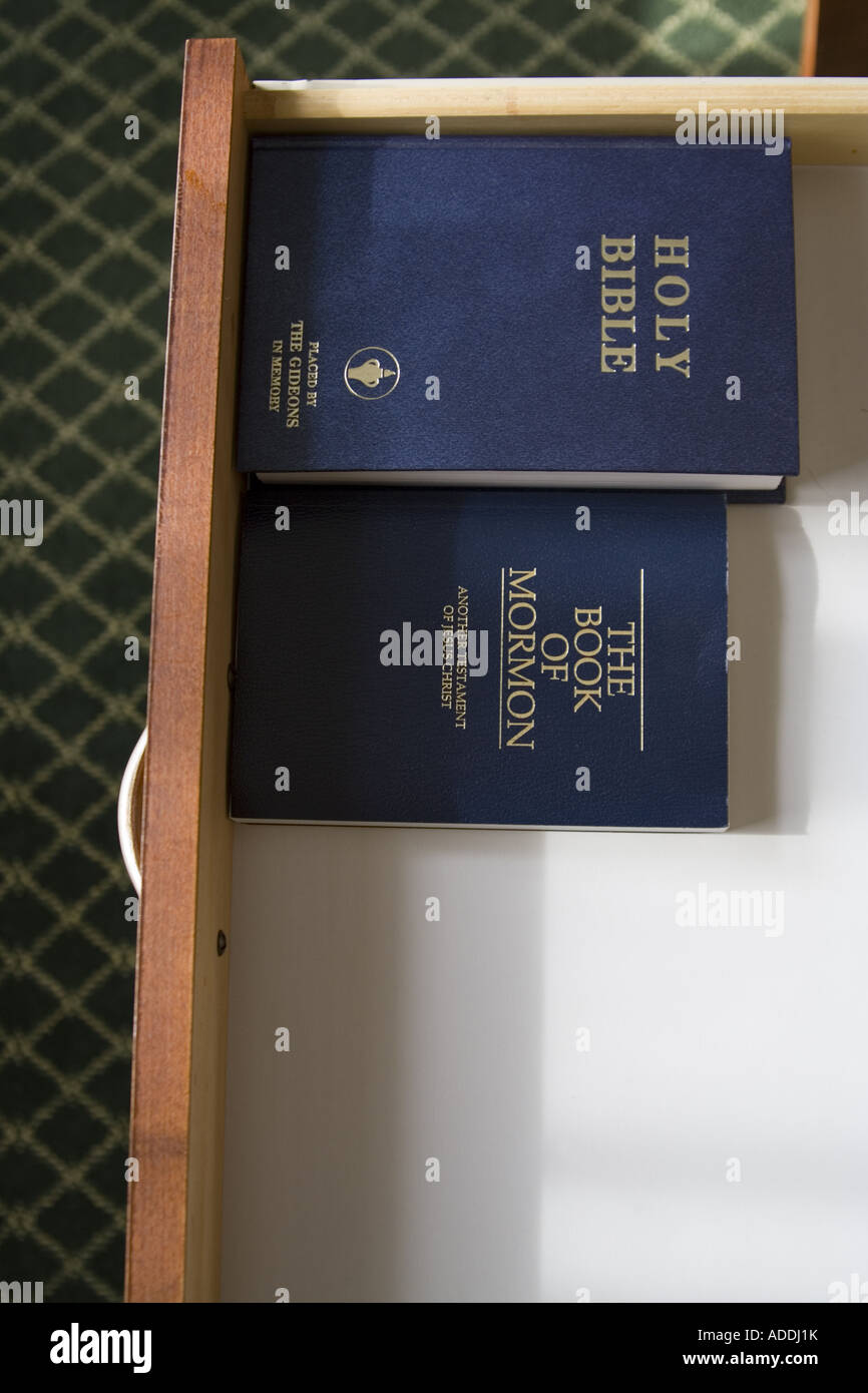 Bibles in hotel room drawer - Stock Image