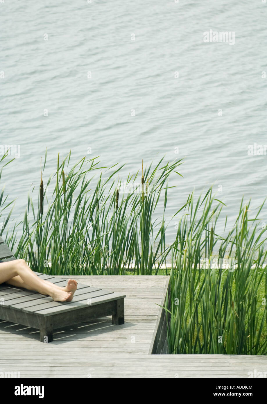 Young woman lying on lounge chair, cropped view of legs - Stock Image