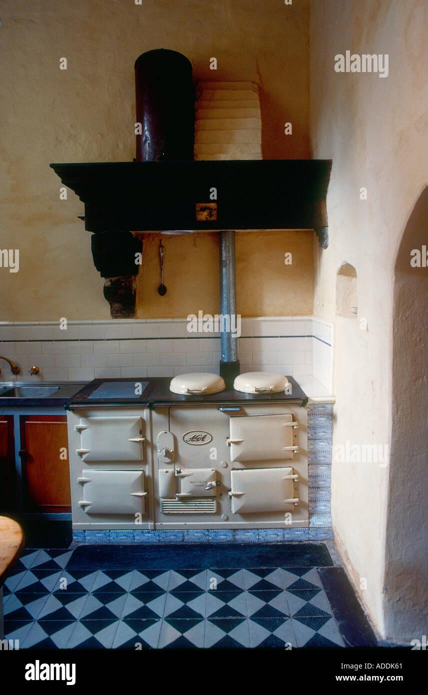 Old Aga stove in country kitchen Victoria Australia - Stock Image