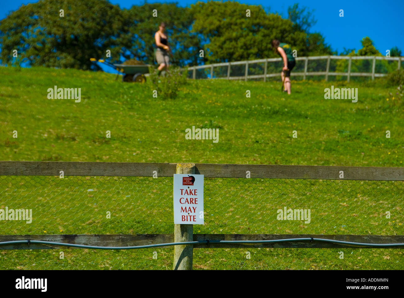 A Take care may Bite Sign on a fence with two young girls digging within the field instead of the usual livestock - Stock Image