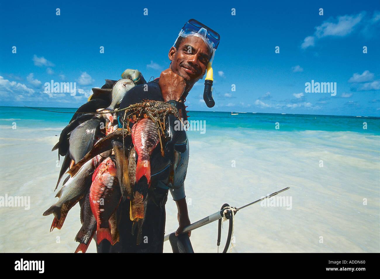 Fischer, Sam Lord's Beach, St. Philip, Barbados Karibik - Stock Image