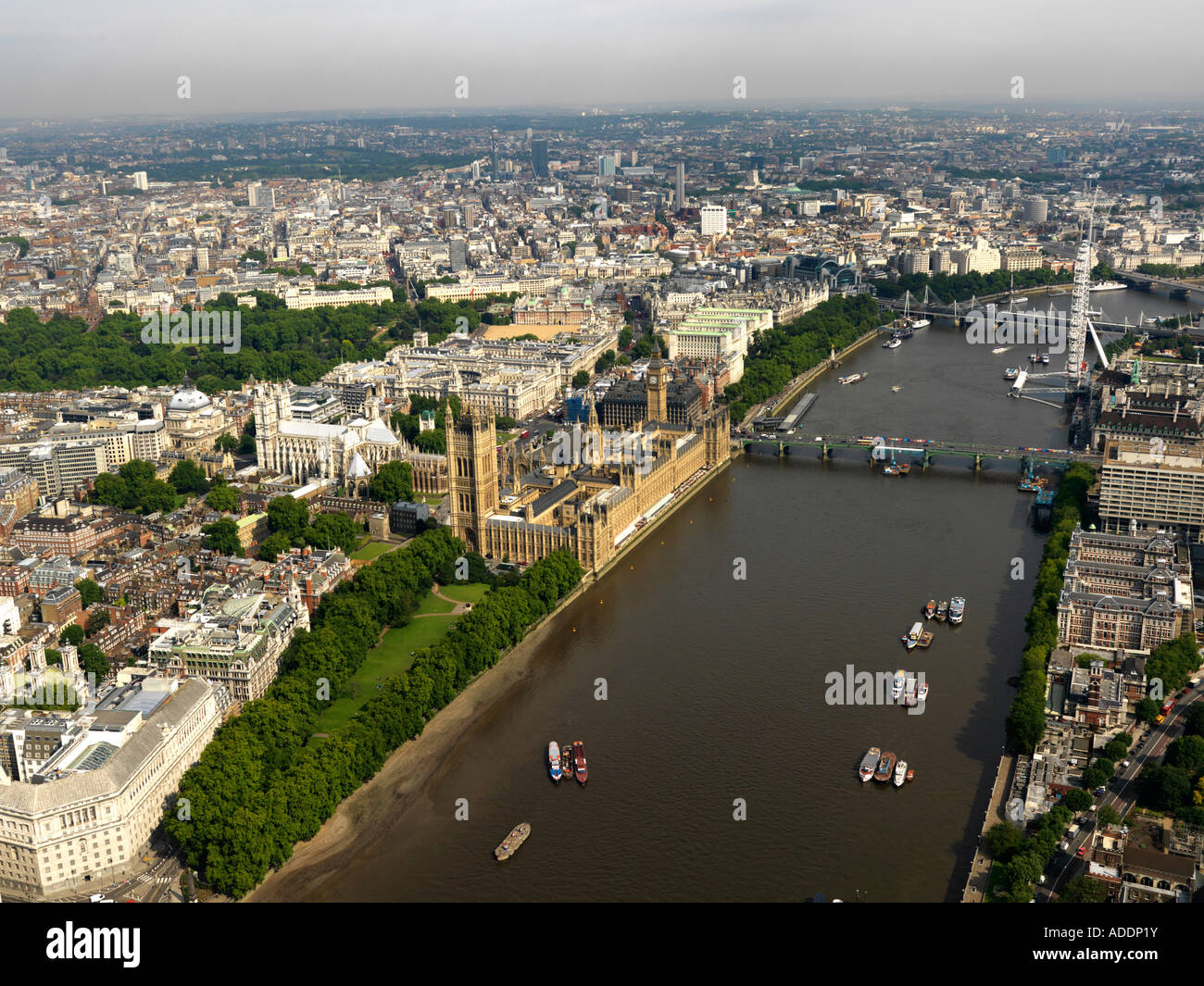 Aerial of London showing Westminster and the River Thames. Stock Photo