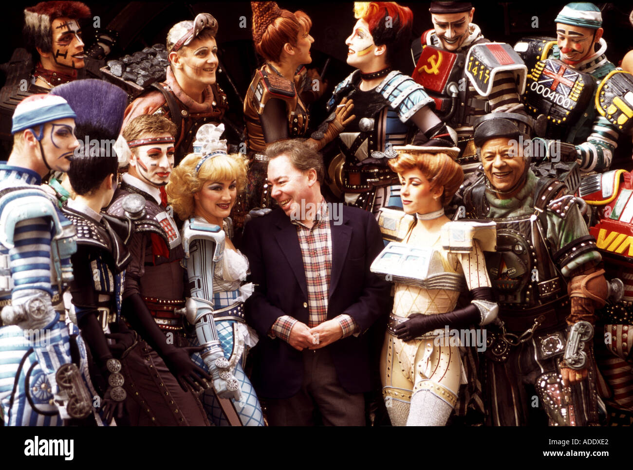 ANDREW LLOYD WEBBER with cast of his musical STARLIGHT EXPRESS in London - Stock Image