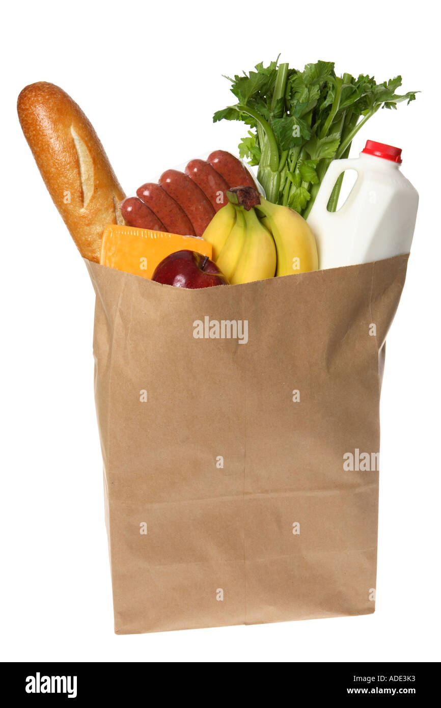 Paper Grocery Bag Full of Groceries - Stock Image