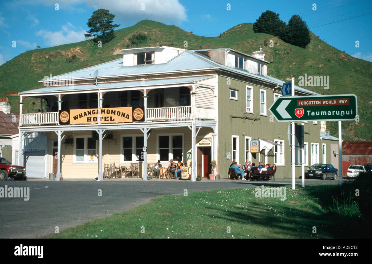Forgotten World Highway from Stratford to Taumarunui Hotel Whangamomona North Island New Zealand - Stock Image