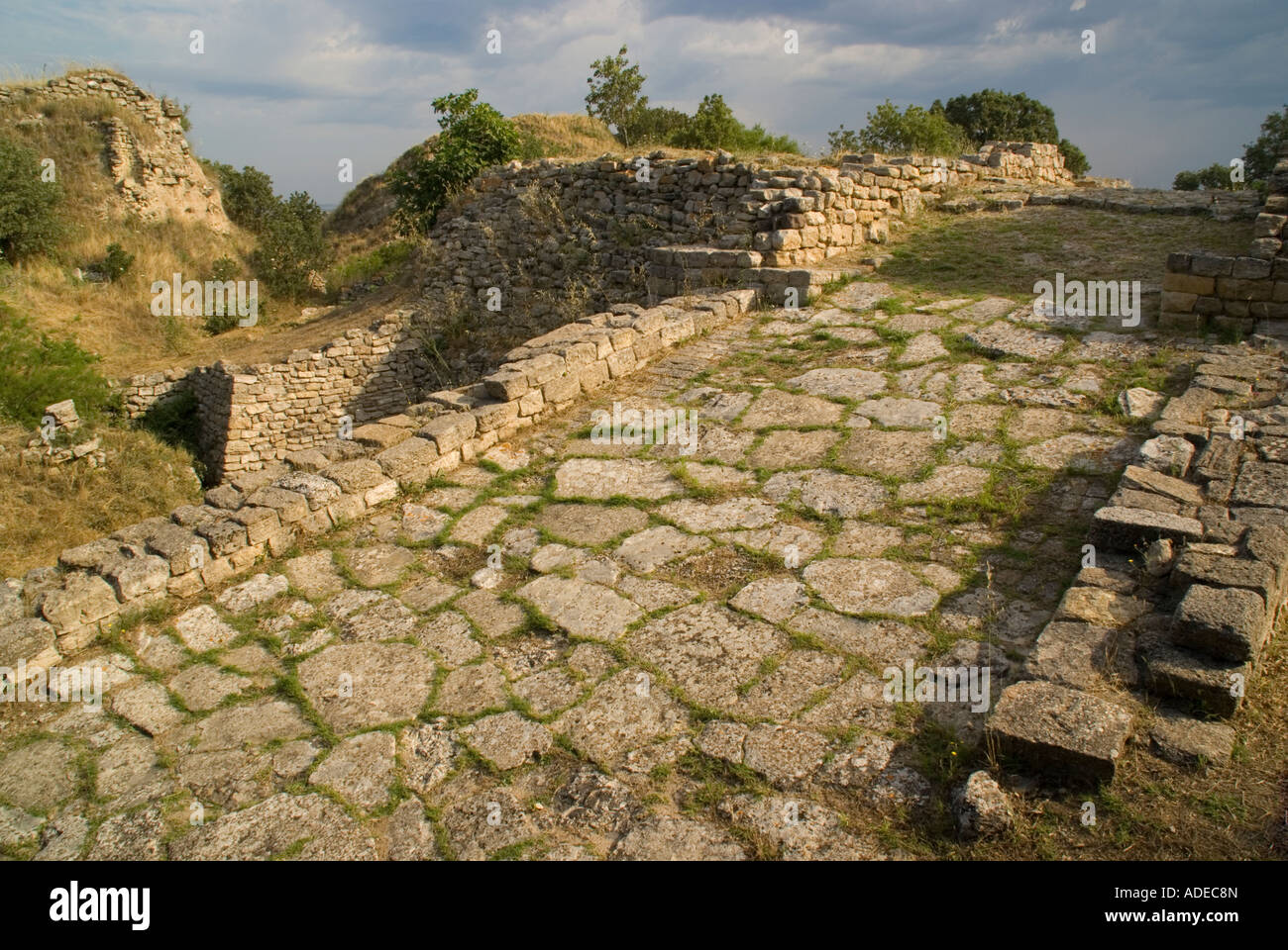 Ramp to city gate of ancient city of Troy II - Stock Image