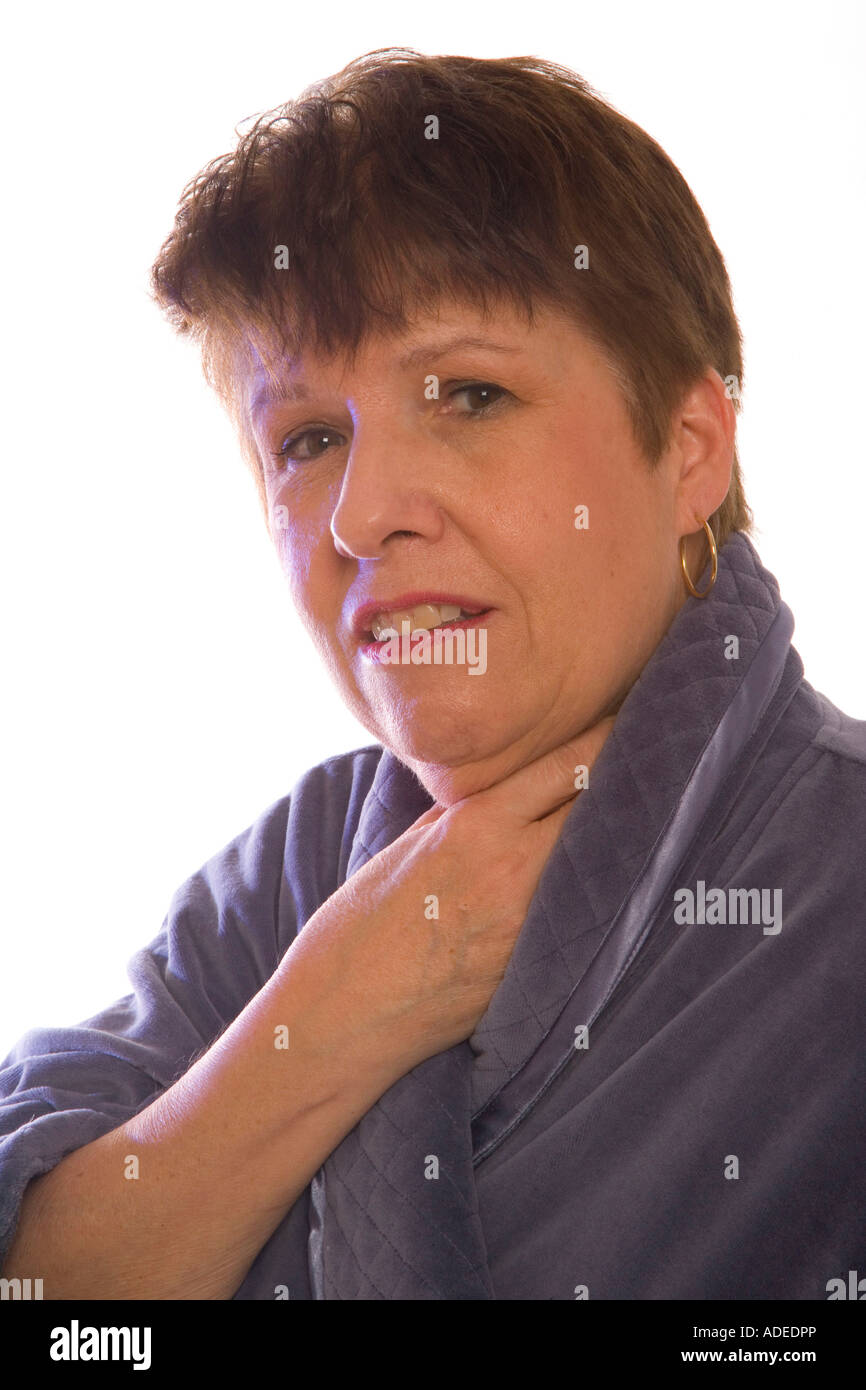 Patient complains about sore throat. - Stock Image