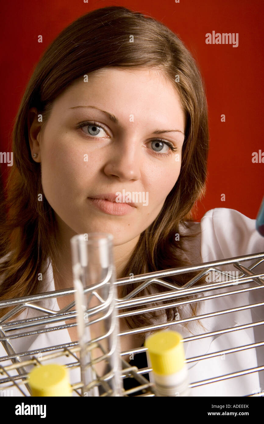 Molecular biologist preparing research project. - Stock Image