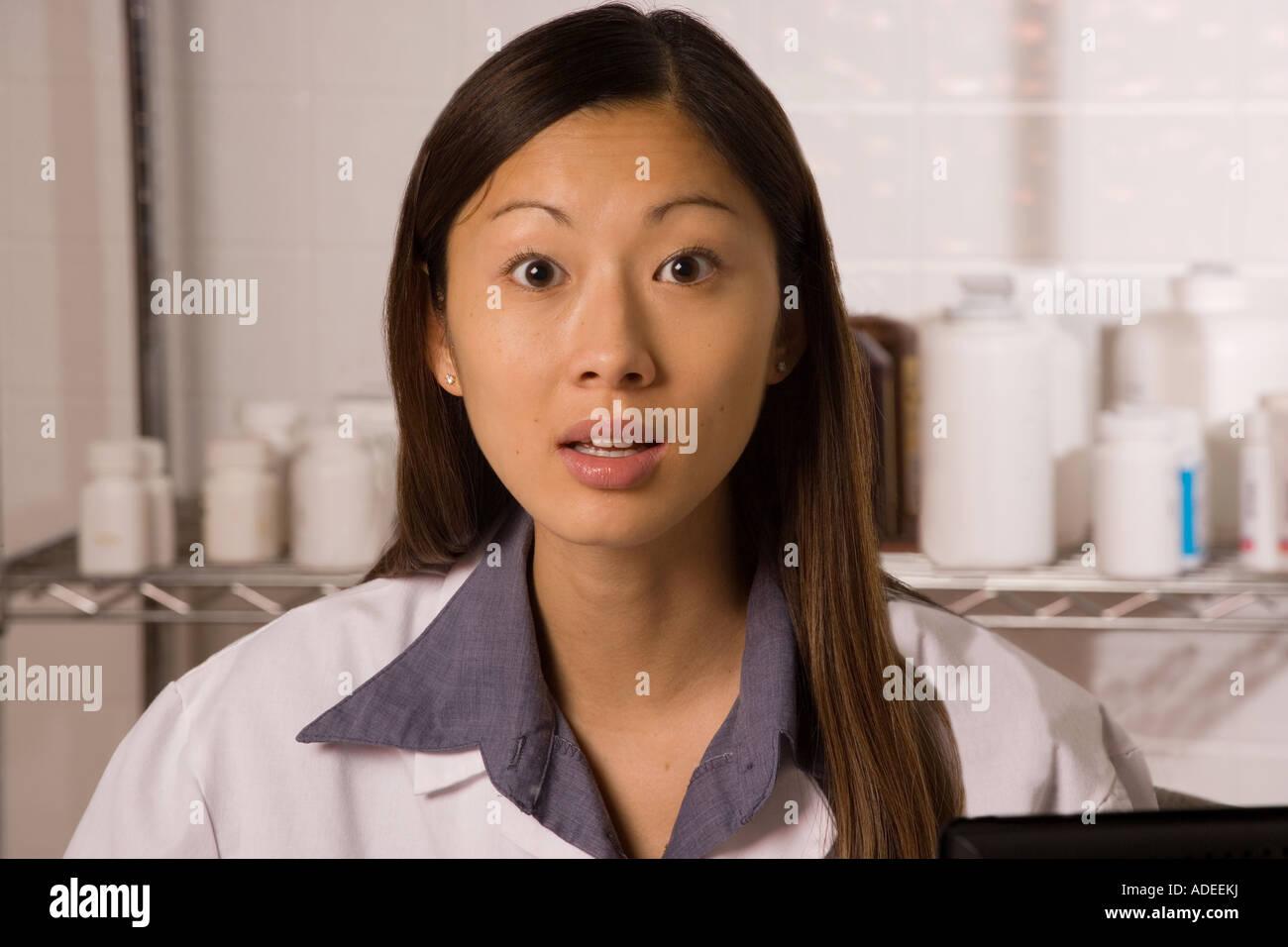 Pharmacist in the hospital pharmacy. - Stock Image