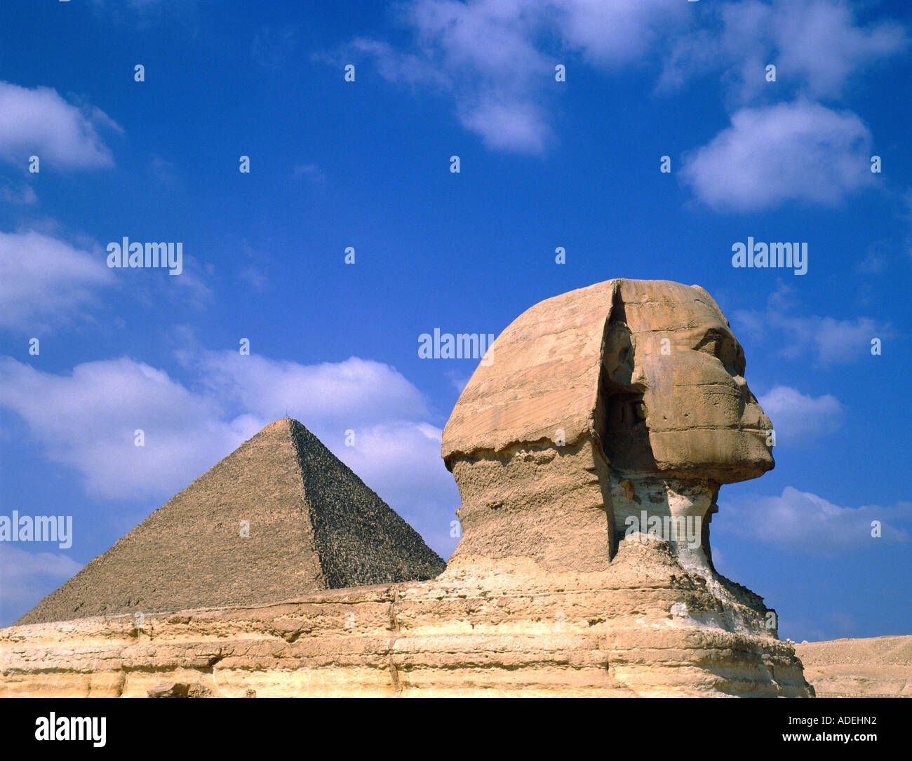 Egypt. Giza. Pyramid & Sphinx. - Stock Image