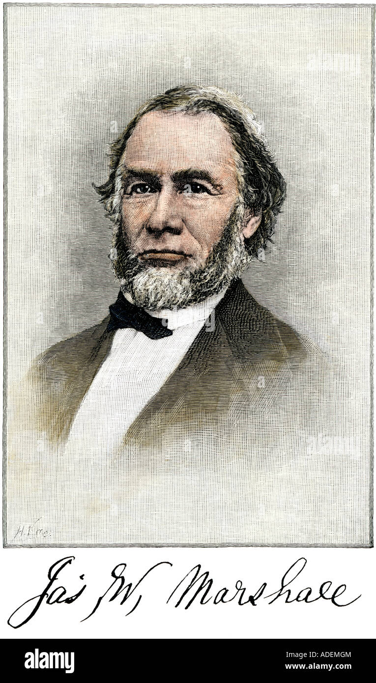 James Wilson Marshall discoverer of gold in California 1848 with his signature. Hand-colored woodcut Stock Photo