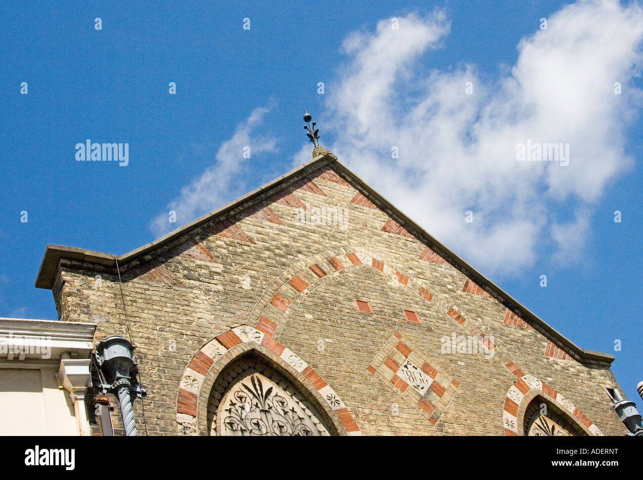 Corbelling and decorative brickwork used on a brick gable Stock Photo