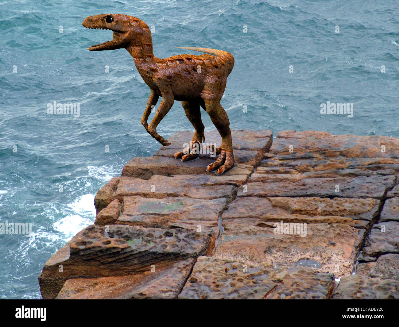 velociraptor a preditory therapod dinosaur the prehistoric raptor is extinct so this is a 3d illustration - Stock Image