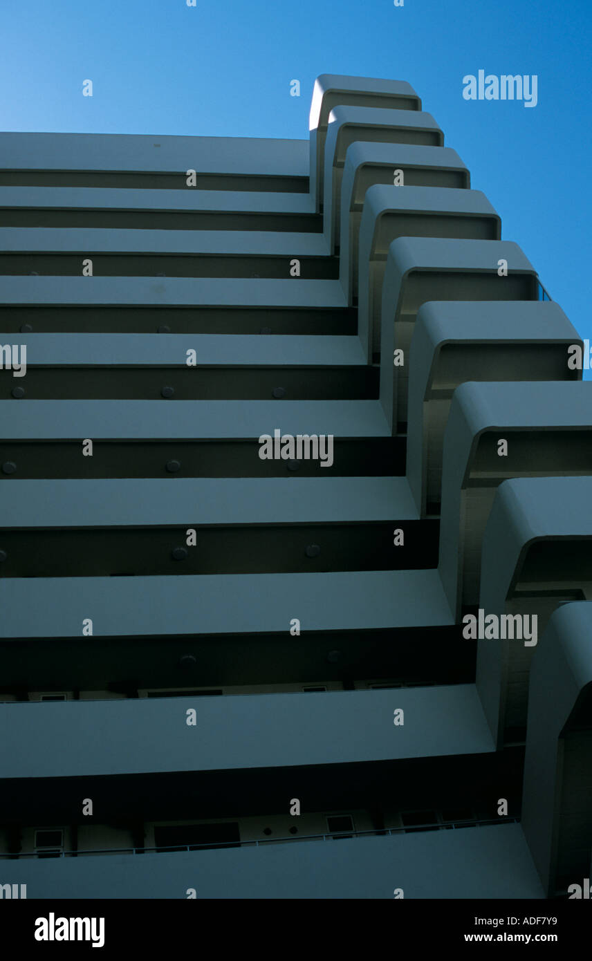 The rear access and cantilevered staircase at Embassy Court, the Wells Coates designed apartment block in Brighton, Sussex. - Stock Image