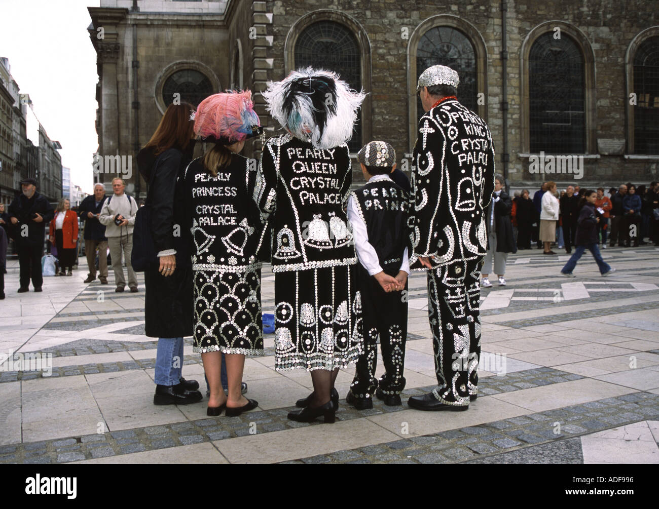 Pearly Kings and Queens at the Guildhall in London - Stock Image