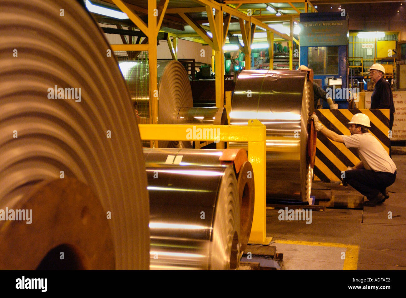 Coils of steel at Corus Ebbw Vale works where there has been over 200 years of iron and steel production South Wales UK - Stock Image