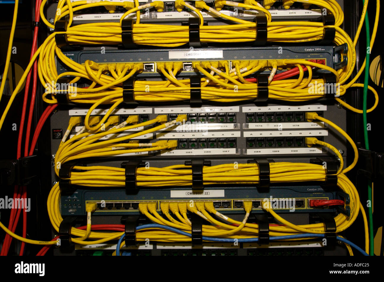 Cables in network server cabinet UK - Stock Image & Telecommunications Cabinets Stock Photos u0026 Telecommunications ...