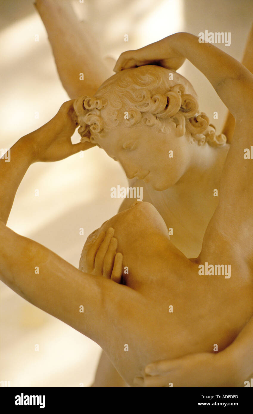 France Paris The Louvre statue of Eros and Psyche by Antonio Canova - Stock Image