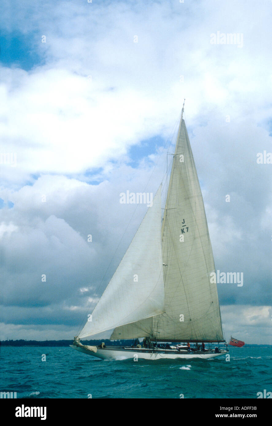 The 1933 J class yacht Velsheda in the Solent Hampshire England UK Stock Photo