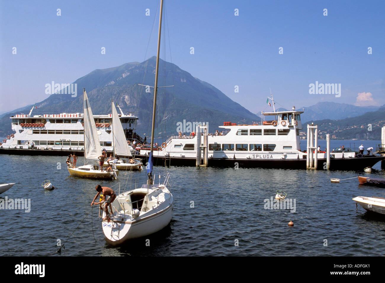 Ferryboats Varenna Como lake Lombardy Italy - Stock Image