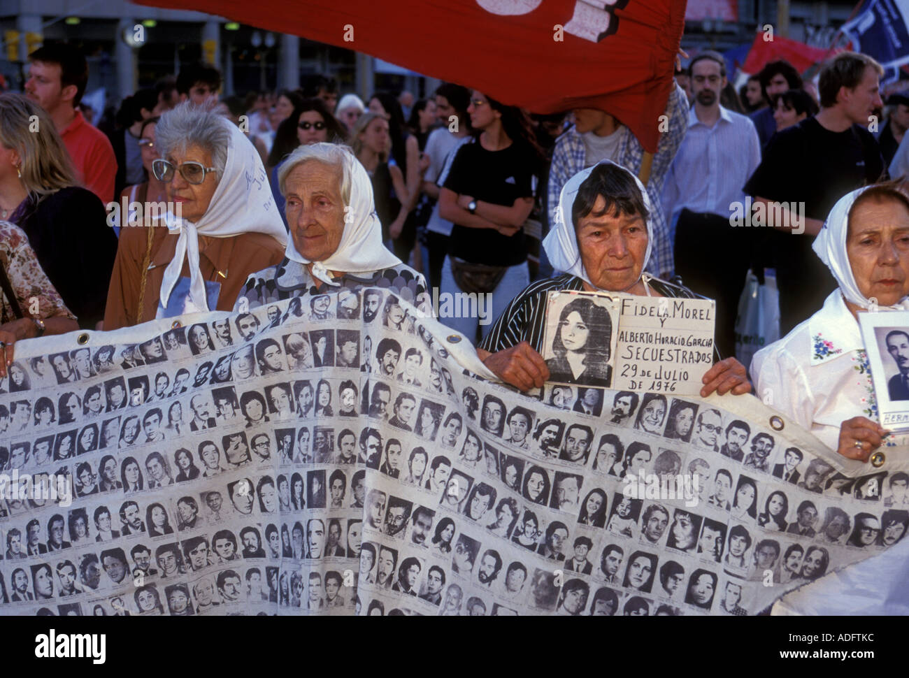 Argentine mothers, madres de la Plaza de Mayo, protesting, protest march, Plaza de Mayo, city of Buenos Aires, Argentina Stock Photo