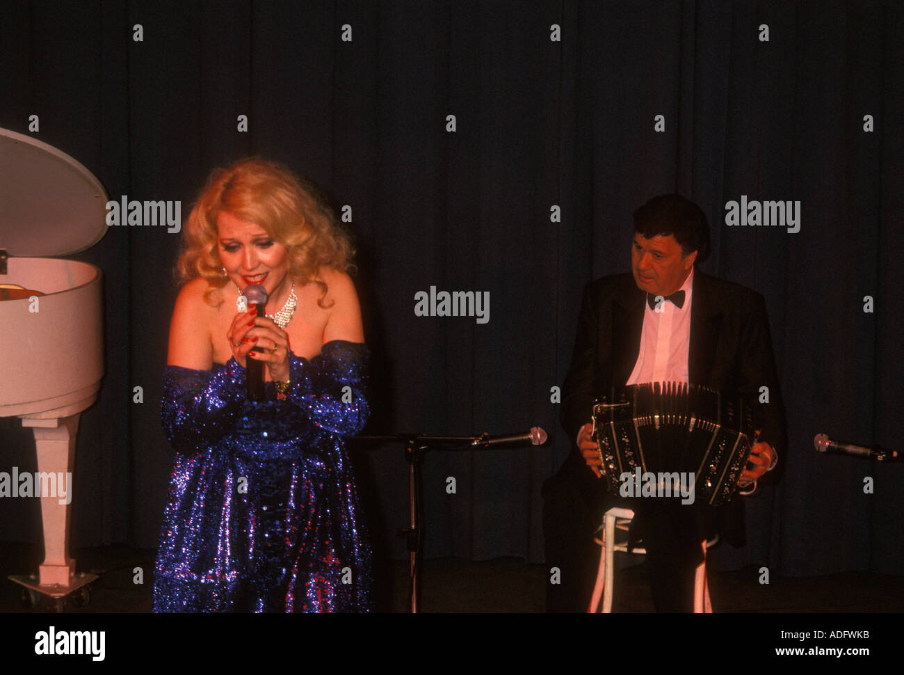 Maria Alexandra singing, Maria Alexandra, singing, singing song, Casa Blanca, Buenos Aires, Buenos Aires Province,Stock Photo