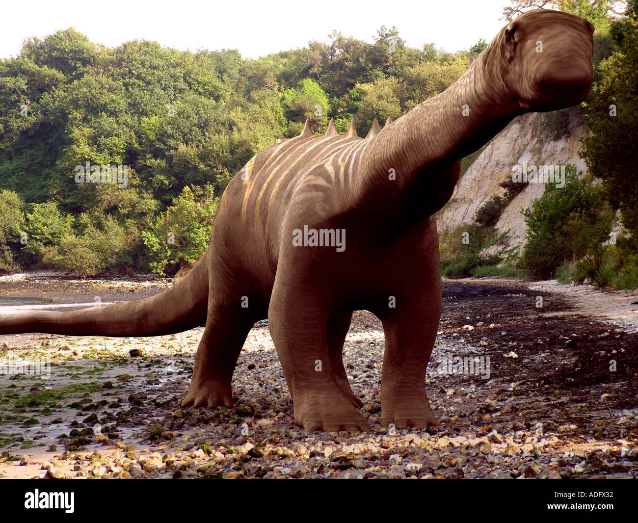 diplodocus or brontosaurus one of the sauropod family of dinosaurs 3d illustration Stock Photo