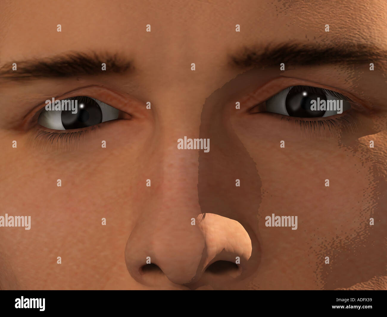 extreme close up ecu of man s face 3d illustration - Stock Image