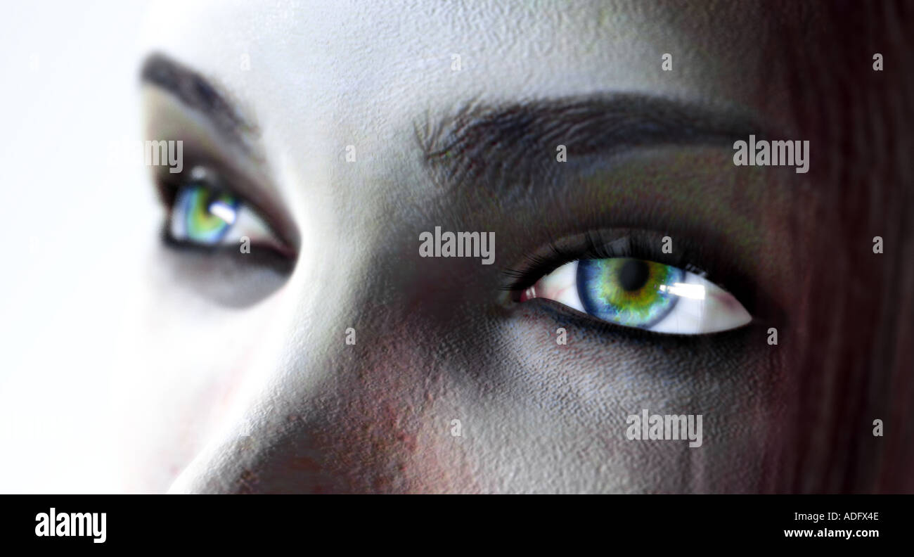 a woman s eyes 3d illustration - Stock Image