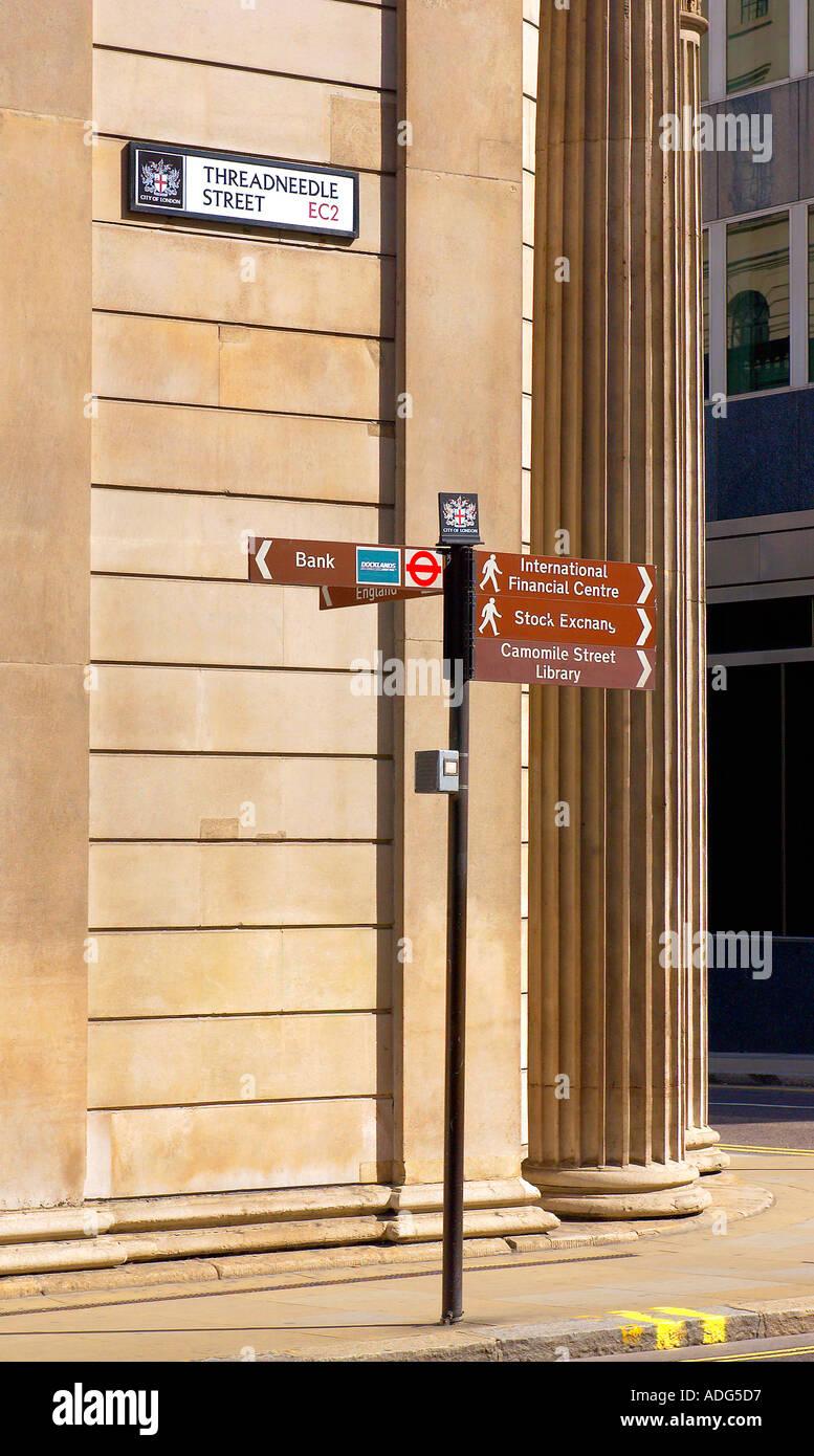 Signpost in Threadneedle Street City of London UK - Stock Image