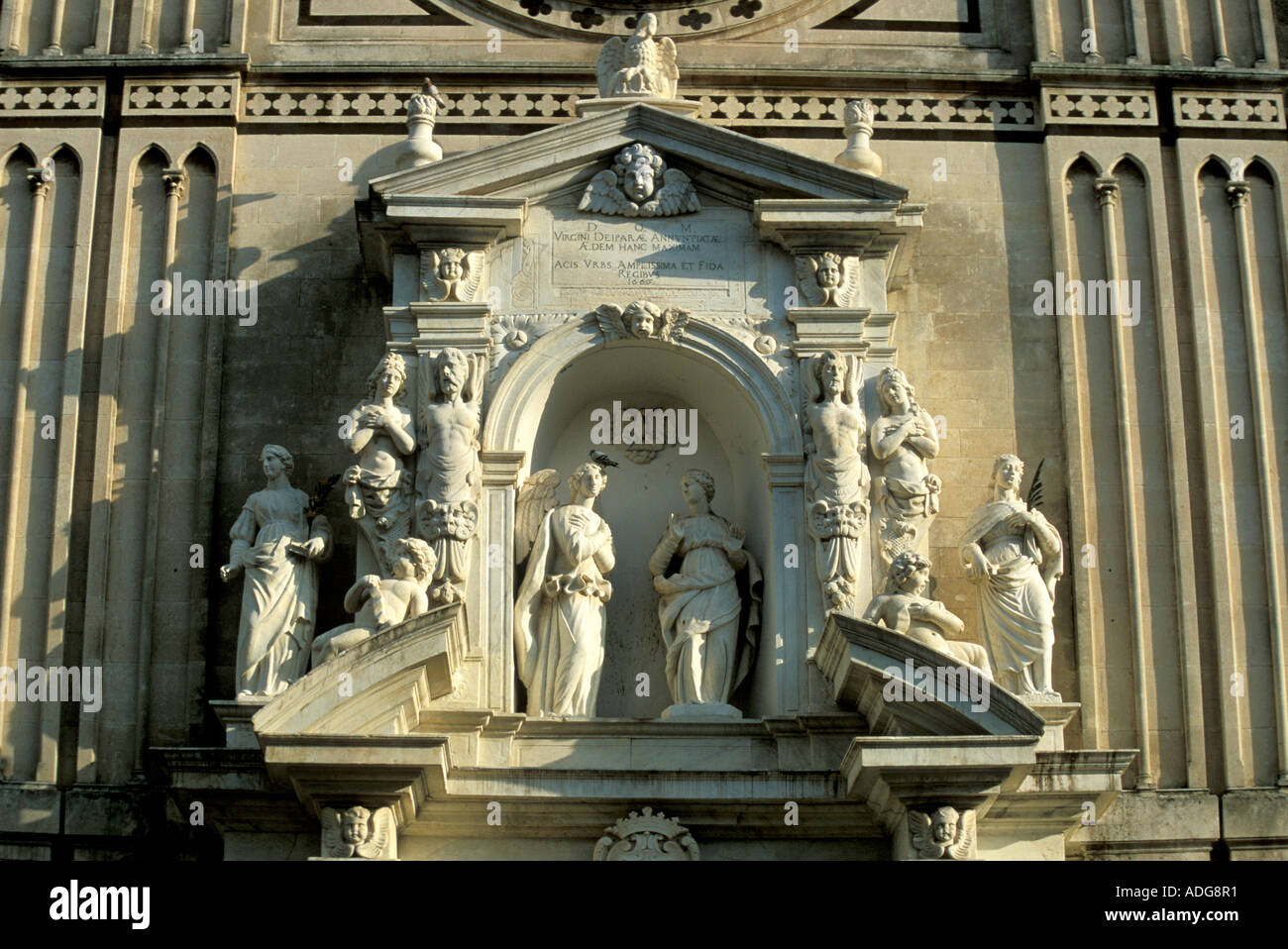 Particular of fa�ade Cathedral Acireale Sicily Italy - Stock Image