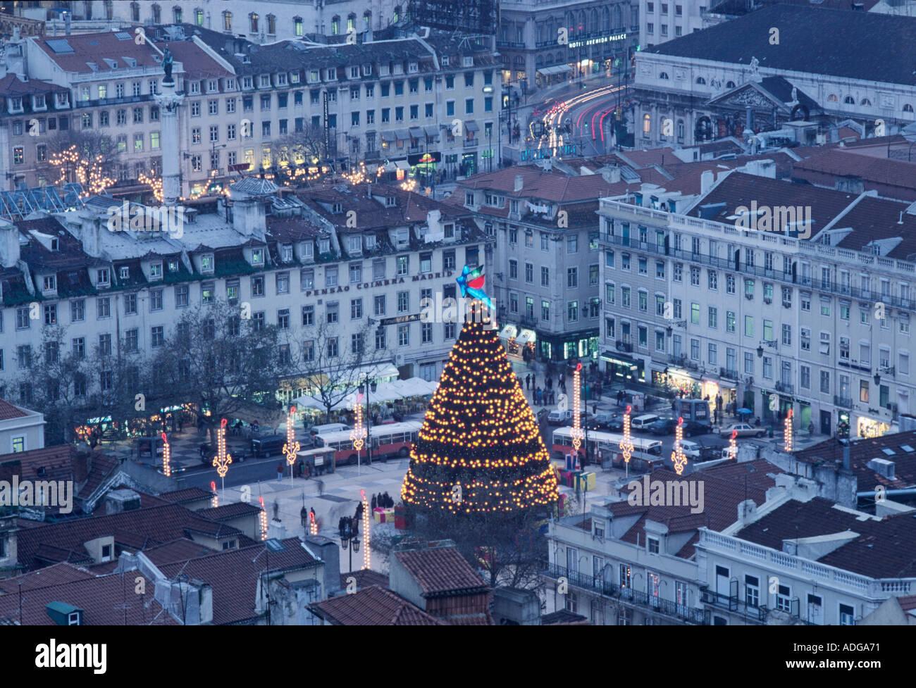 Christmas In Portugal.Praca Da Figueira At Christmas Lisbon Portugal Stock Photo