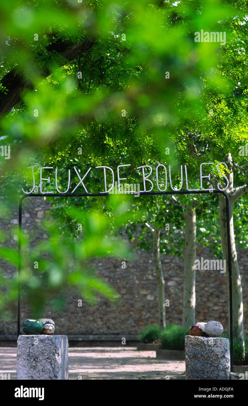 Jeux De Boules entrance sign in Aiguines Provence South France - Stock Image